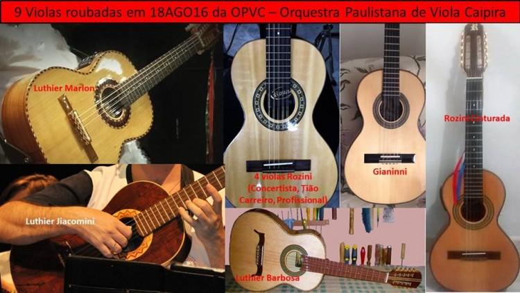 Foto dos instrumentos roubados da OPVC (Foto: reprodução da Internet)