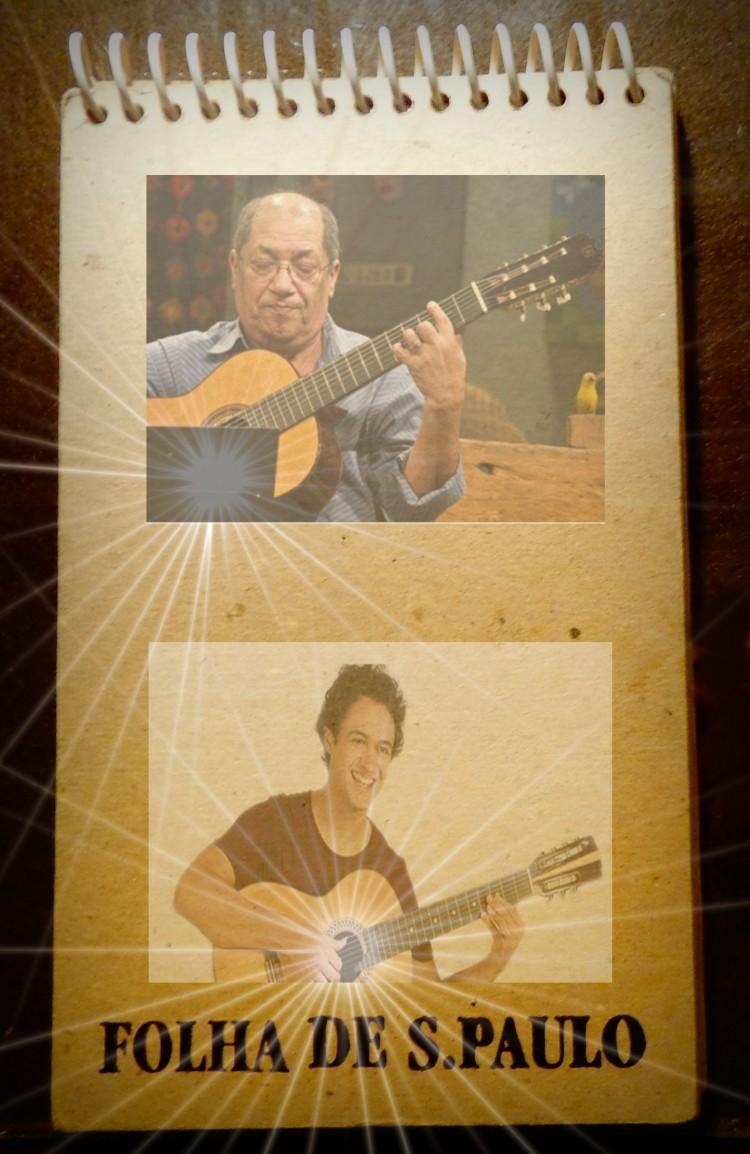 Acima, Luizinho 7 Cordas e Gian Correa, mestres do violão de 7 cordas (Fotomontagem: Carlos Bozzo Junior)