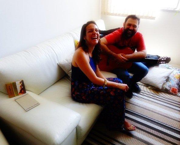 Corina Magalhães e Edu Malta em entrevista ao Música em Letras (Foto: Carlos Bozzo Junior)