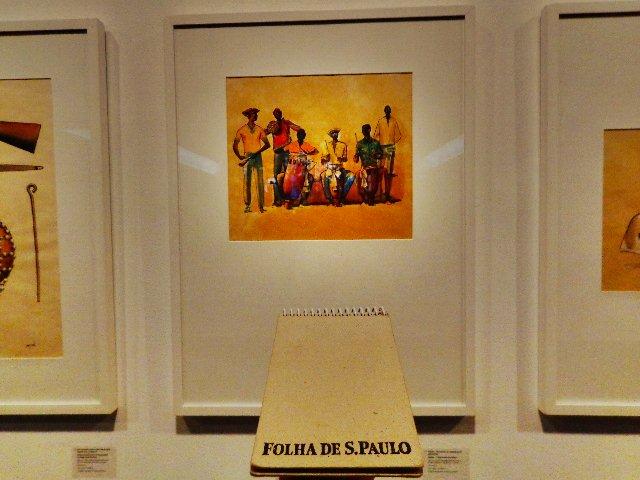 """Alabês- Tocadores de atabaques do candomblé"""", feita pelo artista com nanquim e aquarela (aguada) sobre papel- 48x66 cm, sem data (Foto: Carlos Bozzo Junior)"""