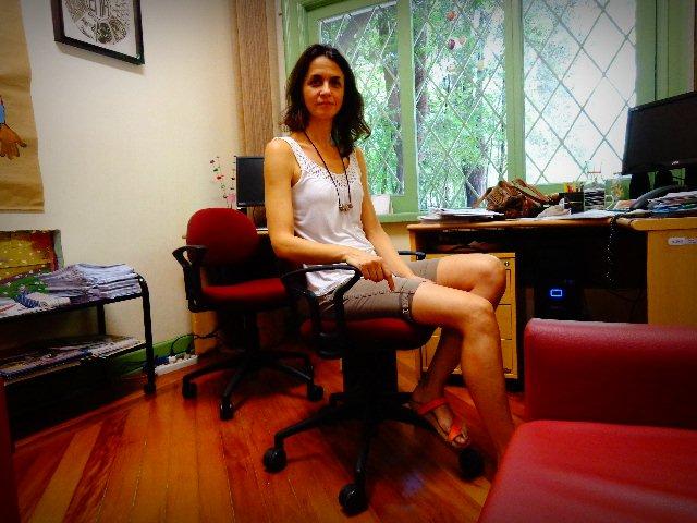Andrea Fraga, a diretora da EMIA, em entrevista ao Música em Letras (Foto: Carlos Bozzo Junior)